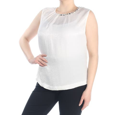 TAHARI Womens Ivory Embellished Pleated Sleeveless Jewel Neck Top Plus Size: 1X