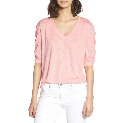 Chelsea28 Women's Knit Top Pink Size Medium M Burnout Ruched Sleeve