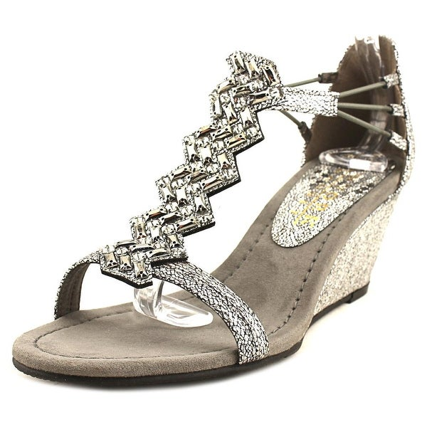 New York Transit Brighter Beauty Women Open Toe Canvas Silver Wedge Sandal