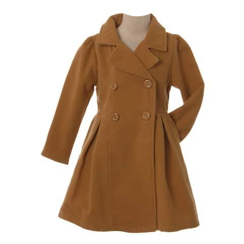 Crayon Kids Girls Tan Long Sleeve Button Up Winter Dress Coat