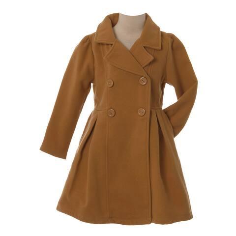 Crayon Kids Little Girls Tan Long Sleeve Button Up Winter Dress Coat X