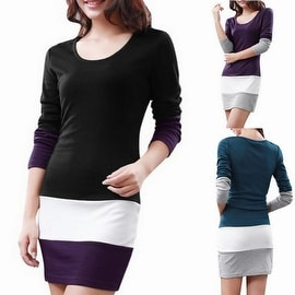 Womens's Long Sleeve Cotton Tunic Tops - Color Block