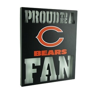 Proud To Be A Chicago Bears Fan Cutout Metal Wall Sign - Black