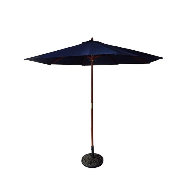 9' Outdoor Patio Market Umbrella - Navy Blue and Cherry Wood