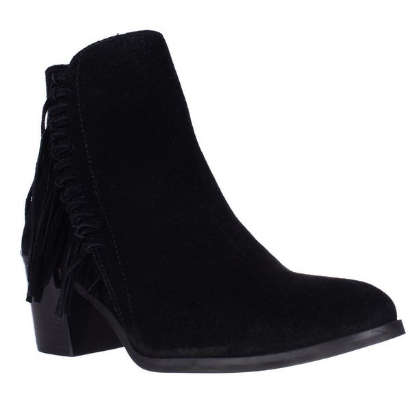 Kenneth Cole REACTION Rotini Side Fringe Ankle Boots, Black