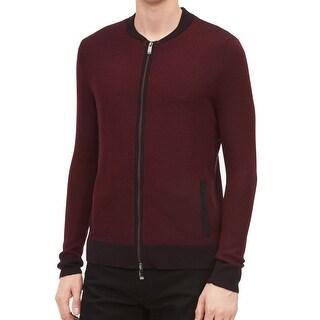 Calvin Klein Chestnut Red Mens Size 2XL Full Zip Wool Sweater