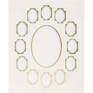 """Ivory W/Gold - Photo Mat 11""""X14"""" Double W/Multiple Openings"""