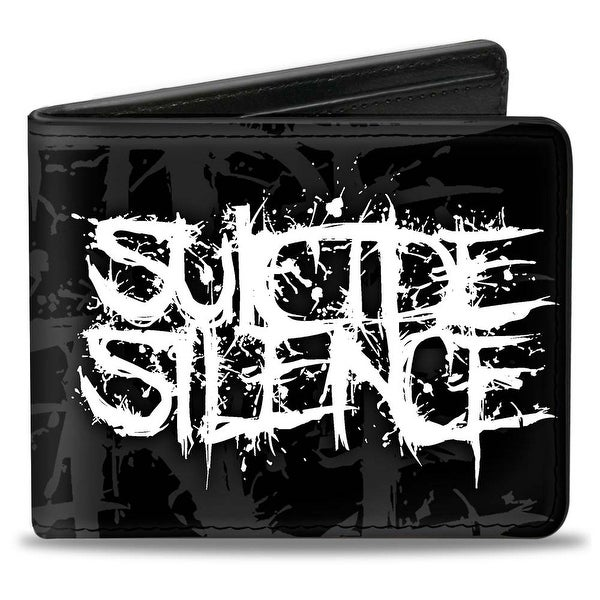 Suicide Silence Splatter Double Black Gray White Bi Fold Wallet - One Size Fits most