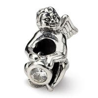 Sterling Silver Reflections April CZ Antiqued Bead (4mm Diameter Hole)