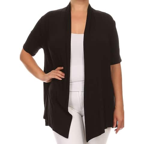 Women Plus Size Short Sleeve Jacket Casual Cover Up Black