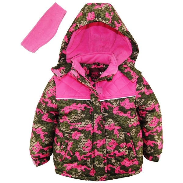 Pink Platinum Girls Floral Print Snowsuit