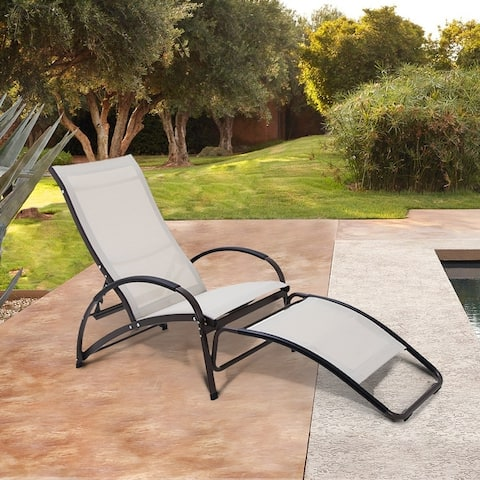 Outdoor Aluminum Adjustable Reclining Chaise Lounge Rocking Chair - 64.57 L x 24.80 W x 35.83 H inches