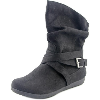 Rampage Cresting Women Round Toe Synthetic Black Mid Calf Boot