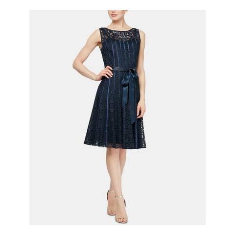 SLNY Navy Sleeveless Knee Length Fit + Flare Dress Size 12