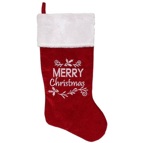 "20"" Red Plush Embroidered ""Merry Christmas"" Stocking with White Cuff"