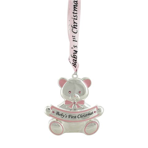"""3"""" Pink and Silver Teddy Bear 'Baby's First Christmas' Ornament"""