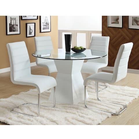 Furniture of America Hann Modern White 5-piece High-Gloss Dining Set