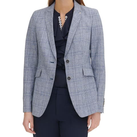 Tommy Hilfiger Womens Blazer Blue Size 14 Houndstooth Elbow Patch