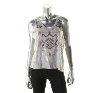 Almost Famous Womens Tank Top Sequined V-Neck - m