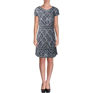 Adrianna Papell Womens Sequined Knee-Length Cocktail Dress