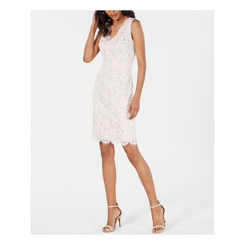 VINCE CAMUTO Ivory Sleeveless Above The Knee Sheath Dress Size 16