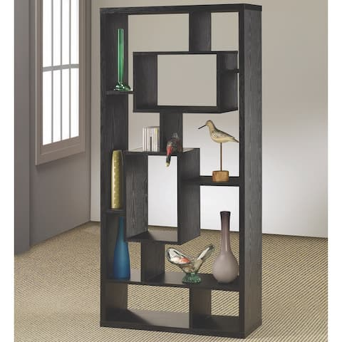 Modern Mosaic Design Black Oak Bookcase Display