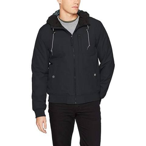 RVCA Men's Hooded Bomber Jacket, Black, SZ Small