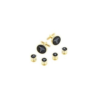 Doctor Formal Tuxedo Cufflinks and Studs Set in Gold - Black