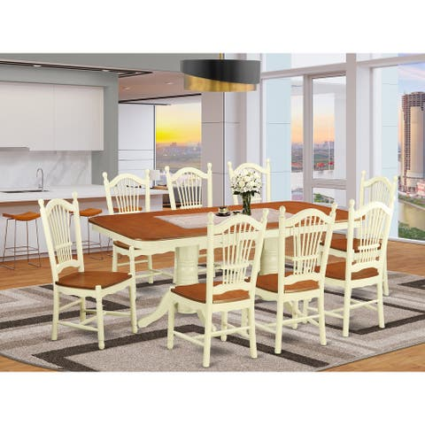 Buttermilk /Cherry Rubberwood 9-piece Kitchen Table Set Including Small Kitchen Table and 8 Dining Room Chairs