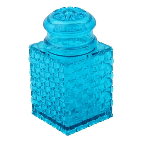 Unique Bargains Home Table Plastic Braided Design Flower Pattern Hat Toothpick Holder Case Blue