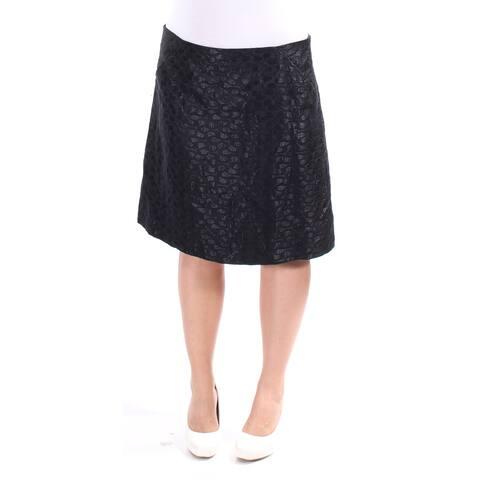 STUDIO M Womens Black Geometric Above The Knee A-Line Skirt Size: 14