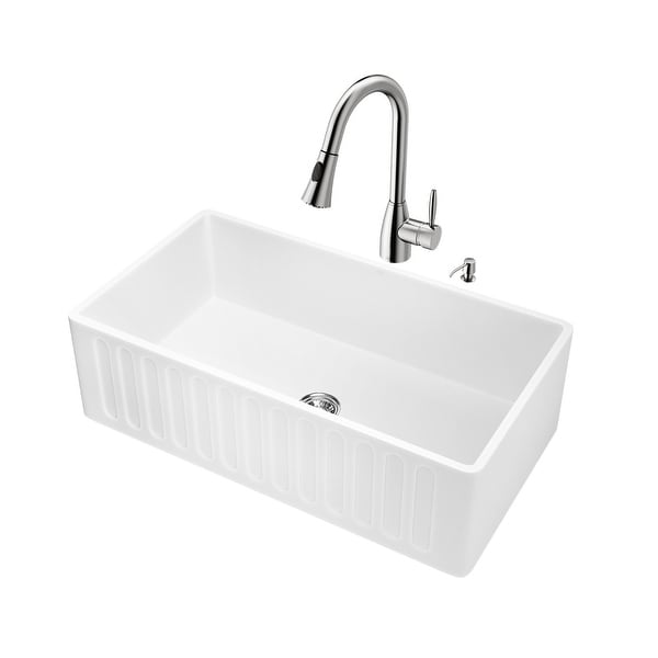 """Vigo VG15458 33"""" Single Basin Farmhouse Kitchen Sink with Aylesbury Stainless Steel Faucet, Soap Dispenser, Basket Strainer and"""