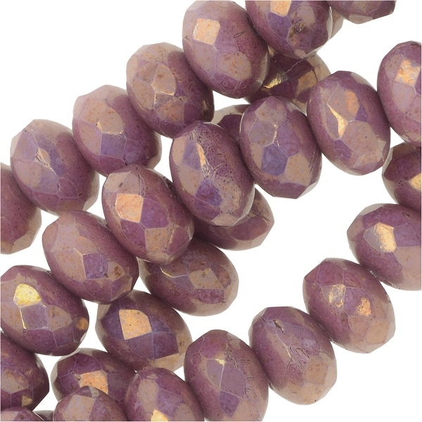 Czech Fire Polished Glass, Donut Rondelle Beads 3.5x5mm, 50 Pieces, Violet Luster