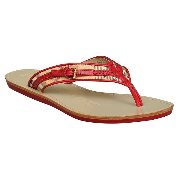 e6a8168a5 Shop Burberry Aldermary Haymarket Flip Flop Sandals in Military Red Size  5.5 - Free Shipping Today - Overstock - 22704611