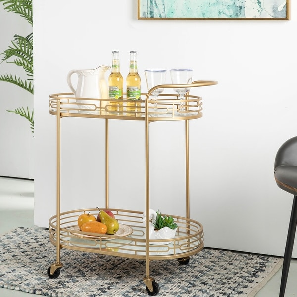 Silver Orchid Marsh Golden Oval Mirrored New Bar Cart. Opens flyout.