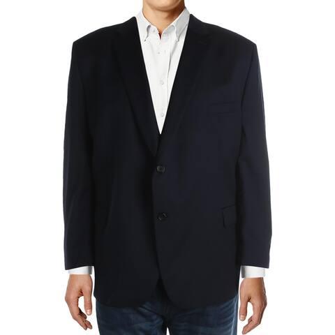 Lauren Ralph Lauren Mens Big & Tall Elliot Two-Button Blazer Wool Suit Separate - Navy