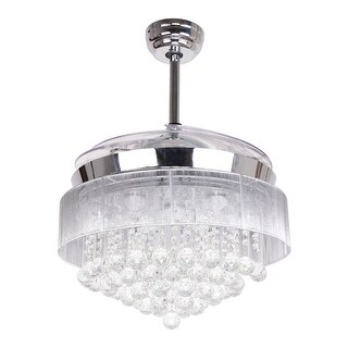 Modern 42.5-inch Foldable 4-Blades LED Ceiling Fans Crystal Chandelier (2 options available)