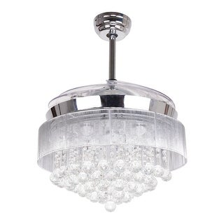 Modern 42.5-inch Foldable 4-Blades LED Ceiling Fans Crystal Chandelier