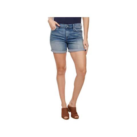 Lucky Brand Womens Ava Denim Shorts Frayed Hem Mid-Rise