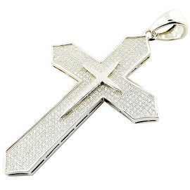 Sterling silver Cross Charm With CZ Iced Out Pave Set 65mm Tall Mens Cross Pendant Extra Large By MidwestJewellery