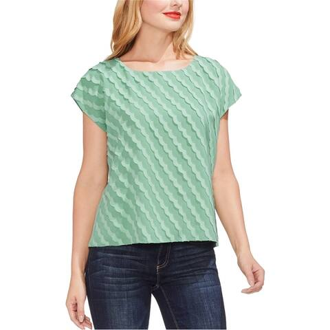 Vince Camuto Womens Scalloped Stripe Pullover Blouse