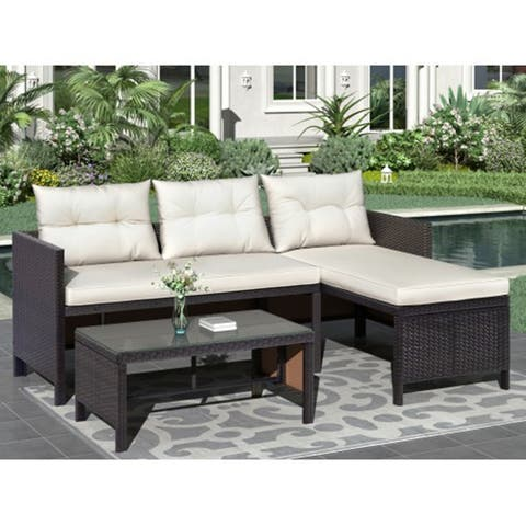 SuperBrite 3 PCS Outdoor Rattan Furniture Sofa Set with cushions