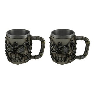 Set of 2 Metallic Silver Steampunk Skull Mugs With Steel Liners