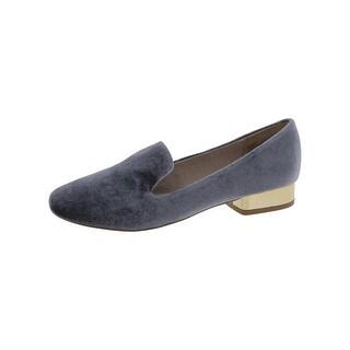 Steve Madden Womens Jean-V Smoking Loafers Velvet Metallic Heel