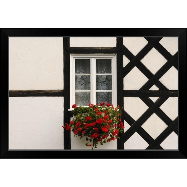 """""""Window and flower box, on half-timbered cottage, Poland"""" Black Framed Print"""