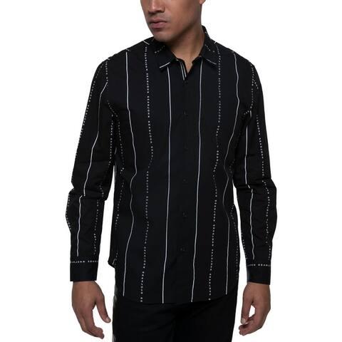Sean John Mens Big & Tall Button-Down Shirt Cotton Printed Stripes - Jet black