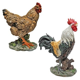 Design Toscano Henrietta the Hen and Cock-A-Doodle-Do Rooster Statues: Set of 2