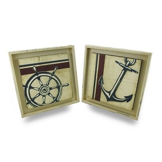 Distressed Finish Anchors Away Nautical Wall Hanging Set of 2 - 13 X 13 X 1 inches