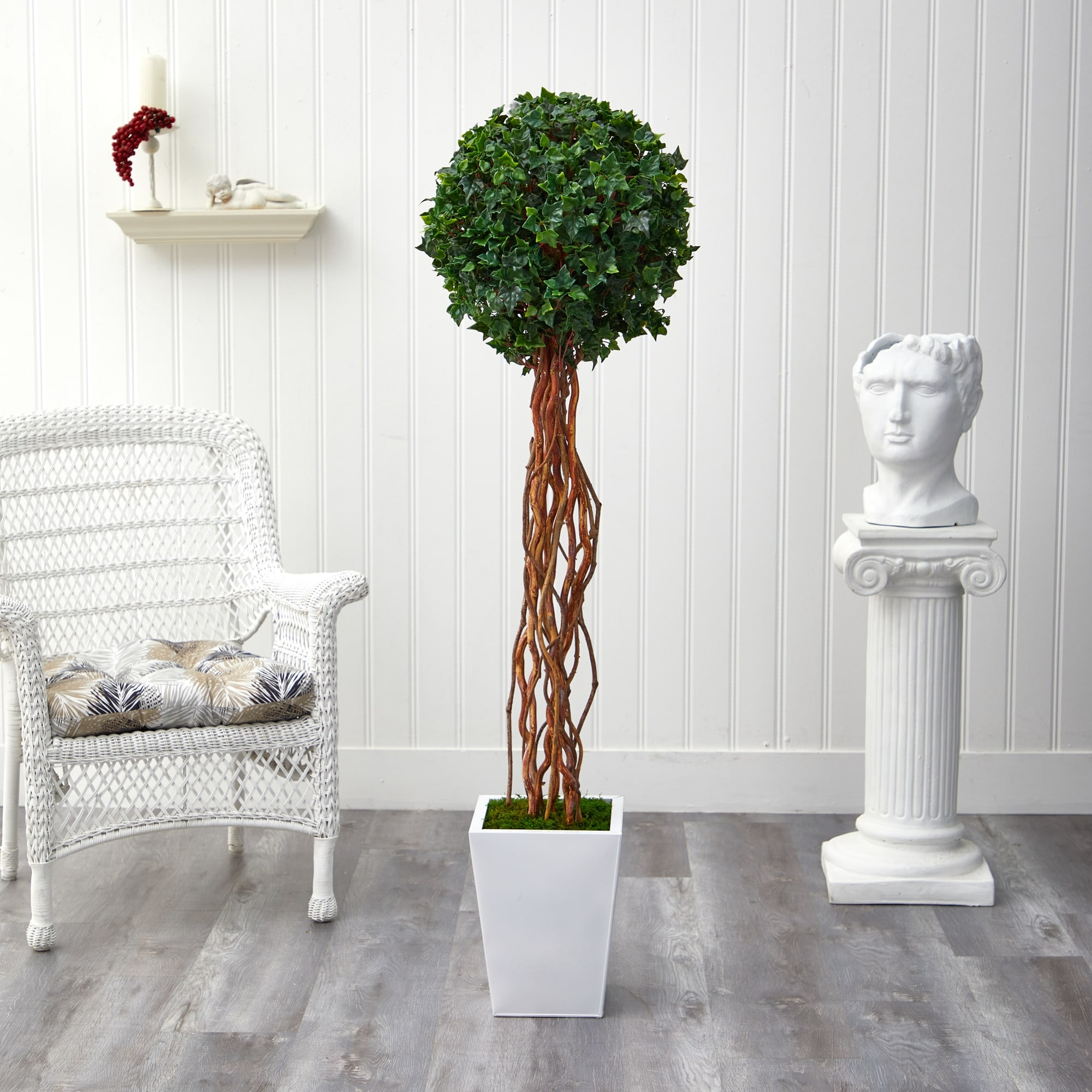 62 English Ivy Single Ball Artificial Topiary Tree In White Planter 15 Overstock 32830329