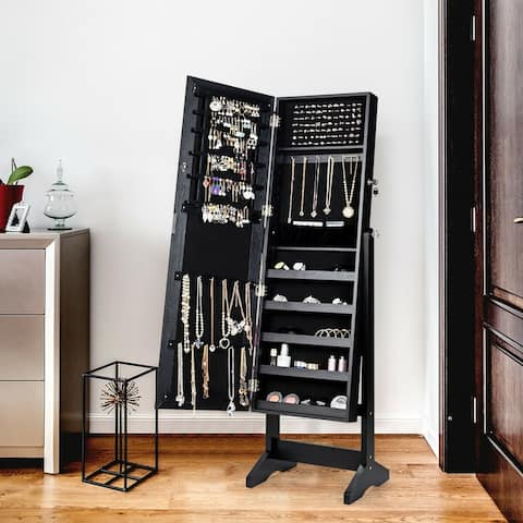 Jewelry Cabinet Stand Mirror Armoire with Large Storage Box